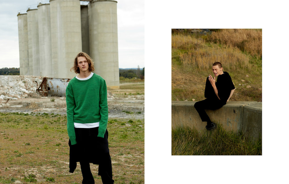 (LEFT) RYAN WEARS SURF CASHMERE KNIT CREW NECK & HYBRID HOODIE TRACKPANT