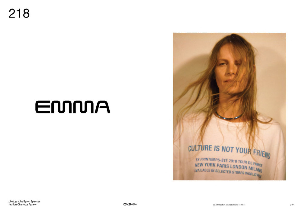 EMMA BALFOUR WEARS SS18 ANTI-CULTURE T-SHIRT