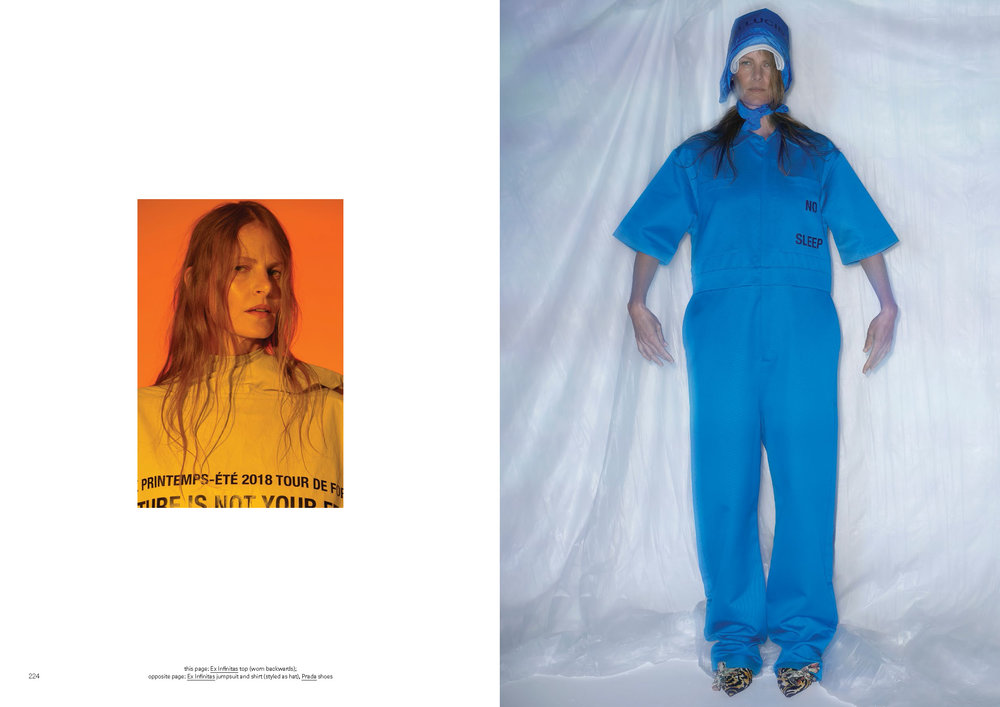 (LEFT) EMMA BALFOUR WEARS SS18 ANTI-CULTURE RAIN HOODIE  (RIGHT) EMMA BALFOUR WEARS SS18 NO SLEEP BOILER SUIT