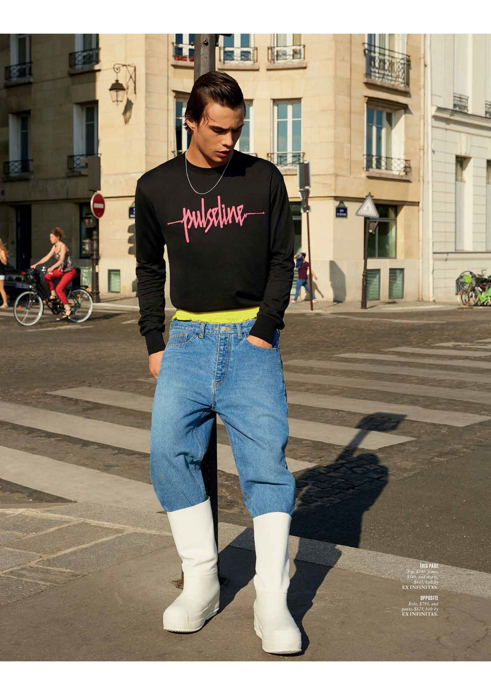LOUIS BAINES WEARS FW18 PULSELINE T-SHIRT, FIRE REEF BOXER SHORTS AND ESSENTIAL DENIM JEANS