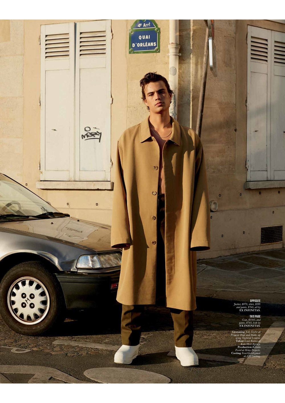 LOUIS BAINES WEARS MERINO COOLER FUTURE DUSTER COAT
