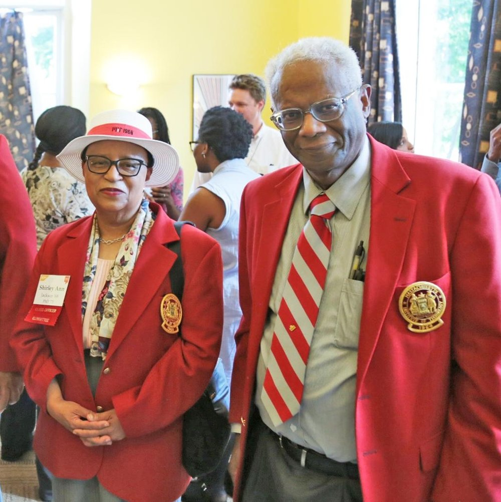 BAMIT Redcoats at the Black Graduate Reception during Tech Reunions, Black Students' Union Lounge, 8 June 2018.   Left to right:    Shirley Jackson    '68, PhD '73; and    Ernest Cohen    '64.