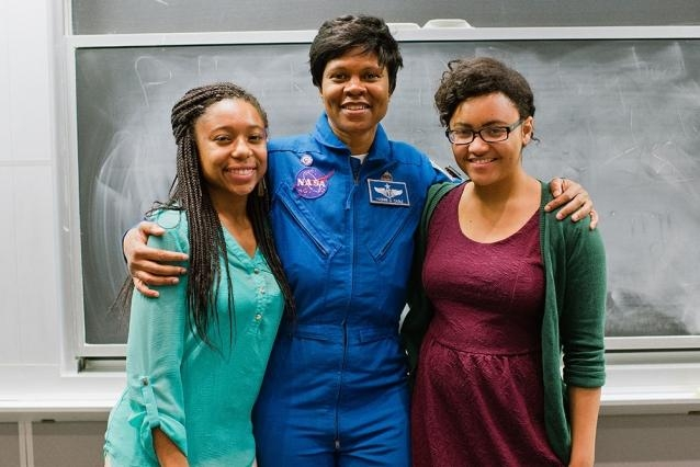 Women in space, 2015.   NASA astronaut Yvonne Cagle (center) poses with MIT Black Women's Alliance co-chairs    Tiera Guinn    '17 (left) and    Alyssa Napier    '16 during a visit to MIT, 2015.