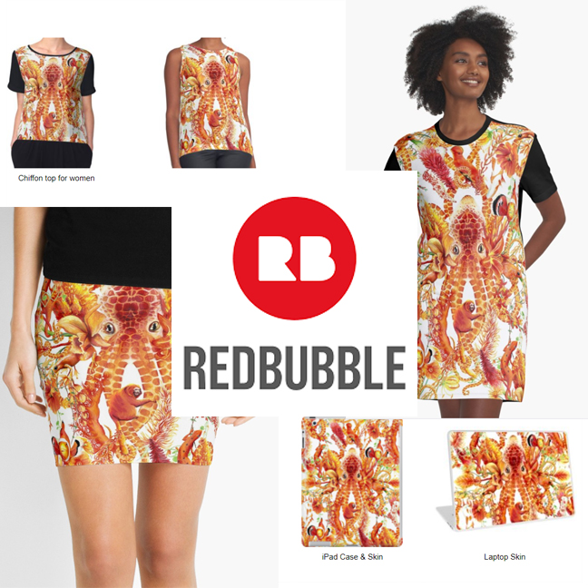 Redbubble offers a apparel featuring my designs and patterns including dresses, jackets, and skirts.