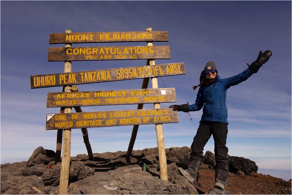Anna at the summit of Mt. Kilimanjaro!