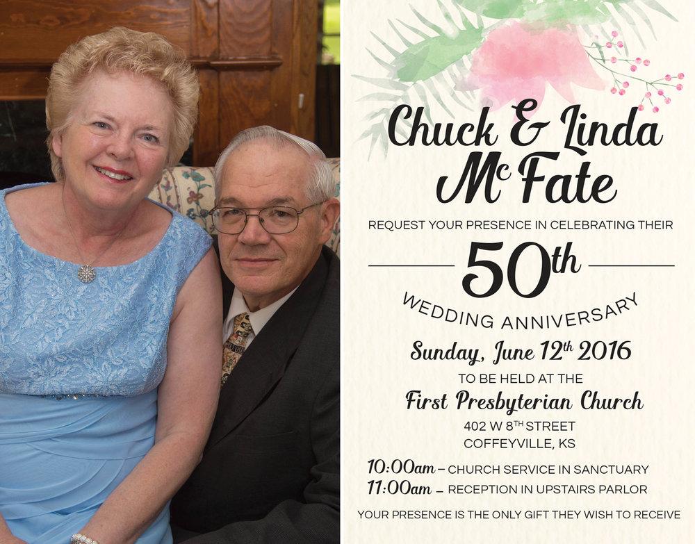 McFate 50th Anniversary Photograph and Reception Invitation