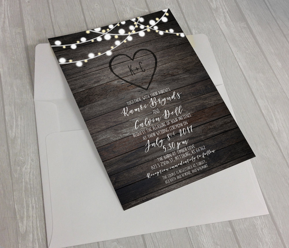 This is a mockup of the wedding invitation I designed for Kamri and Calvin to go with their rustic-themed wedding!