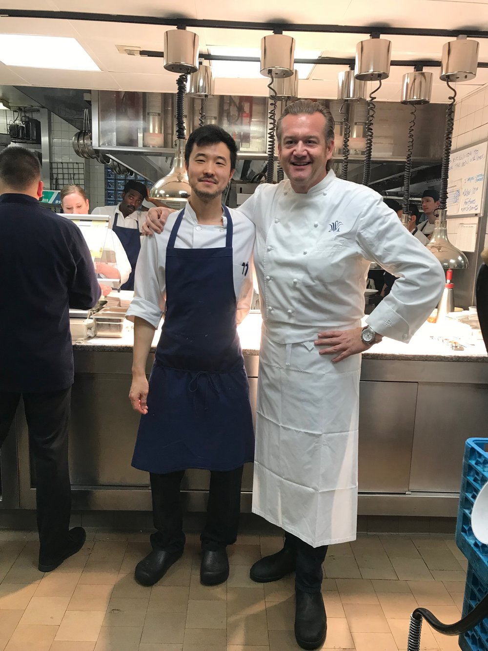 Maro with his mentor, Chef and Owner Michael White of 2 Michelin Star Marea of New York - currently listed as the 87th best Restaurant in the world.