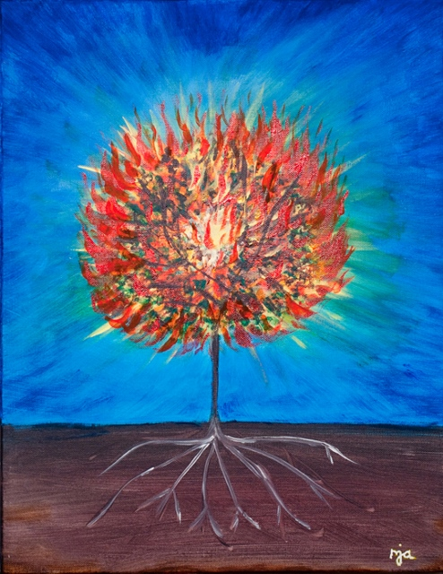 Burning Bush (The Call) by Marguerite J. Anglin, Acrylic on canvas, Copyright 2014