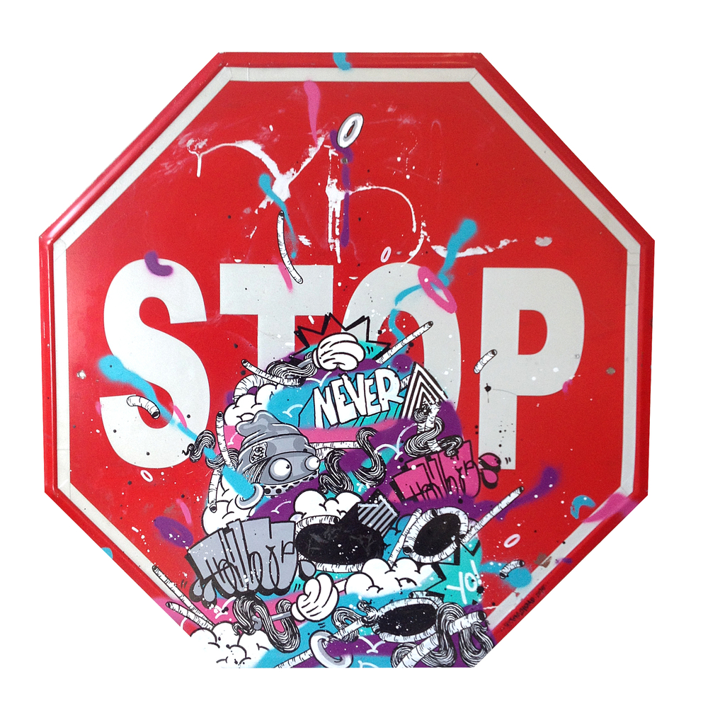 %22Never stop%22 : mixmedia on streetsign : 2015.jpg
