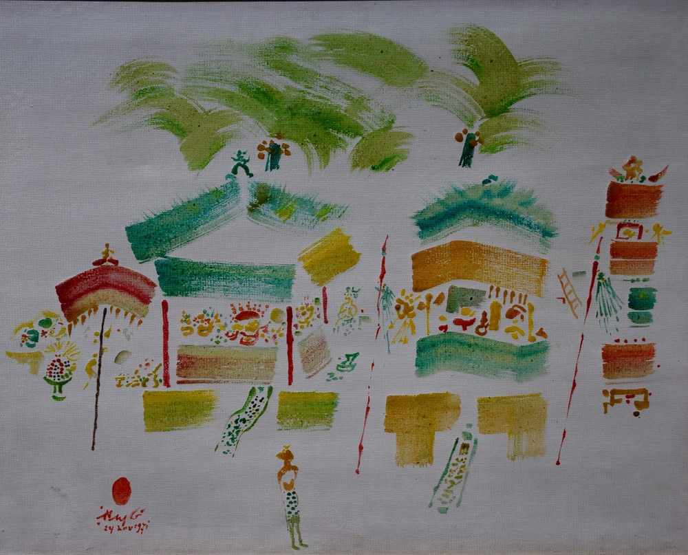 Artist: Rusli, Indonesia    Title: Pemangku Pura Medium: oil on canvas   Dimension: 60 cm x 75 cm Year: 1971