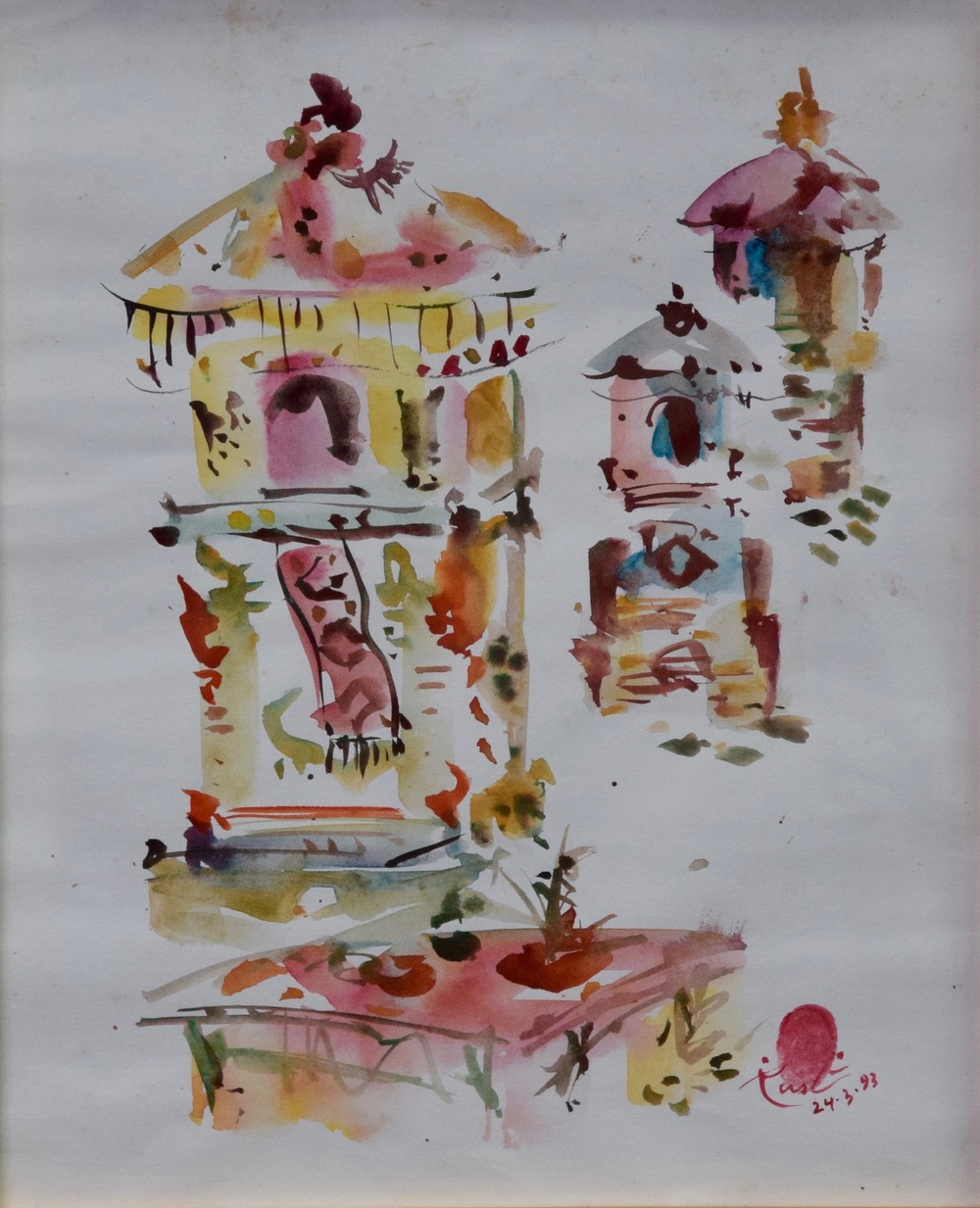 Artist: Rusli, Indonesia    Title: Odalan 1 Medium: water color on paper   Dimension: 35 cm x 27 cm Year: 1979