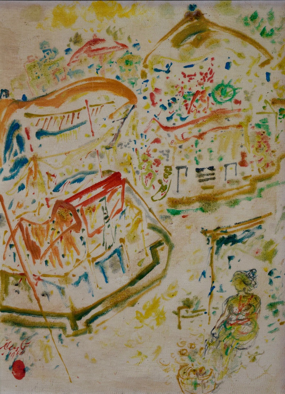 Artist: Rusli, Indonesia    Title: Pasar 2 Medium: oil on canvas   Dimension: 60 cm x 45 cm Year: 1968