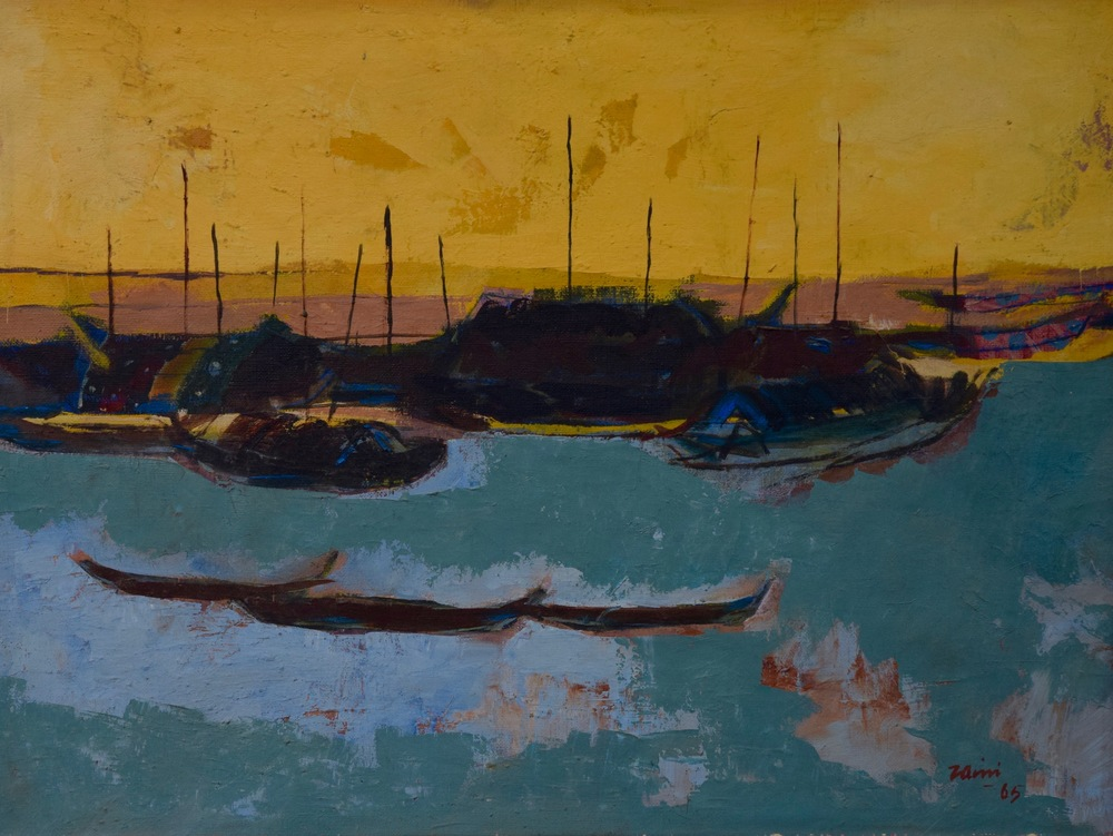 Artist: Zaini, Indonesia    Title: Untitled Medium: oil on canvas   Dimension: 48,5 cm x 65 cm Year: 1965