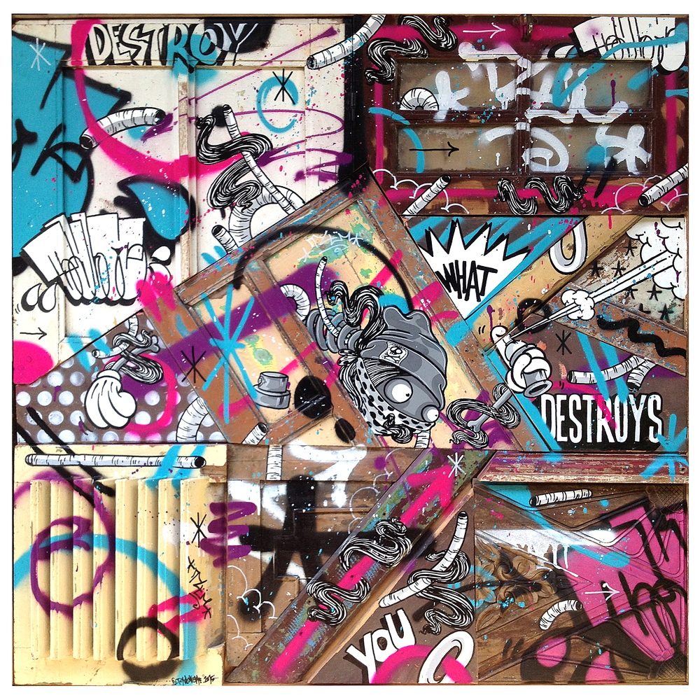 %22Destroy what destroys you%22 : 124cmx124cm : mixmedia on wood : 2015.jpg.jpg