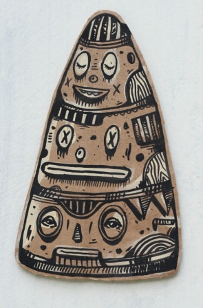 Artist: Hendra 'HeHe' Harsono, Indonesia    Title: Mimesis Cone Medium: Ink on Cardboard   Dimension: various sizes between 20 cm x 20 cm Year: 2011    SOLD