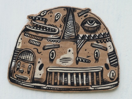 Artist: Hendra 'HeHe' Harsono, Indonesia    Title: Top Slice Head Medium: Ink on Cardboard   Dimension: various sizes between 20 cm x 20 cm Year: 2011    SOLD