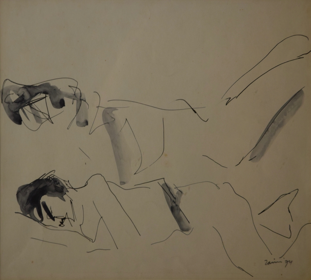 Artist: Zaini, Indonesia    Title: Tertidur Medium: ink on paper   Dimension: 46.5 cm x 33 cm Year: 1974