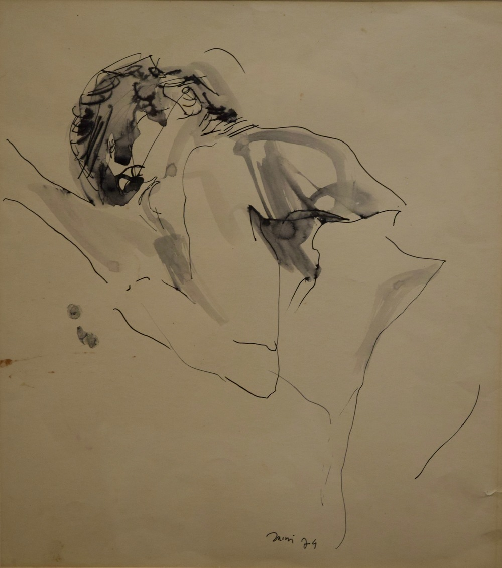 Artist: Zaini, Indonesia    Title: Terlelap Medium: ink on paper   Dimension: 46.5 cm x 33 cm Year: 1974