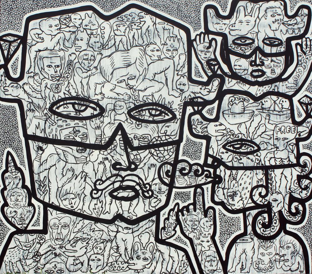 Artist: Soni Irawan, Indonesia    Title: Zorro Family Medium: acrylic, paint marker and oil bar on canvas   Dimension: 140 cm x 160 cm Year: 2016