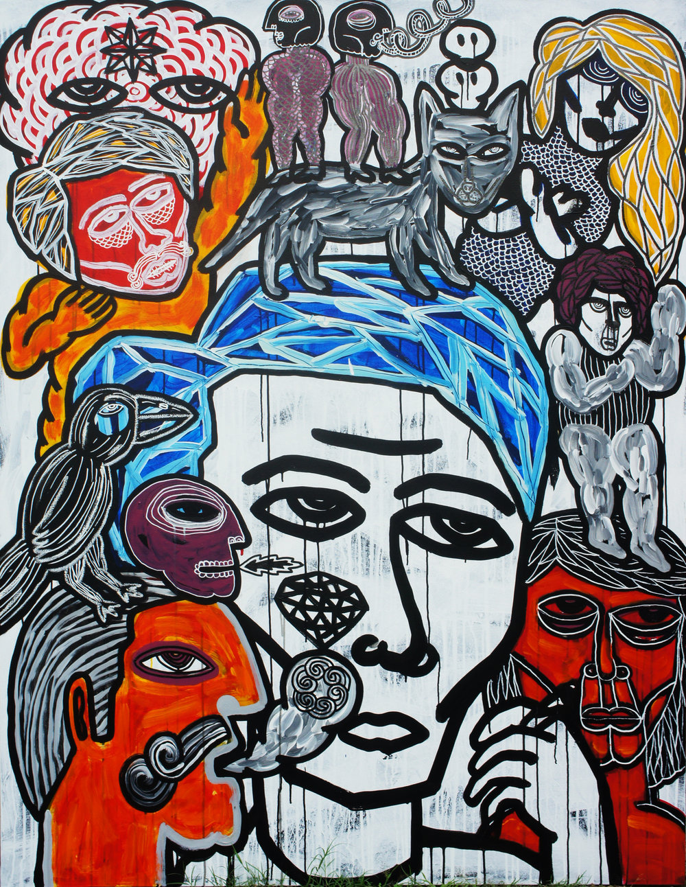 Artist: Soni Irawan, Indonesia    Title: Cat in My Head Medium: acrylic and paint marker on canvas   Dimension: 170 cm x 130 cm Year: 2016