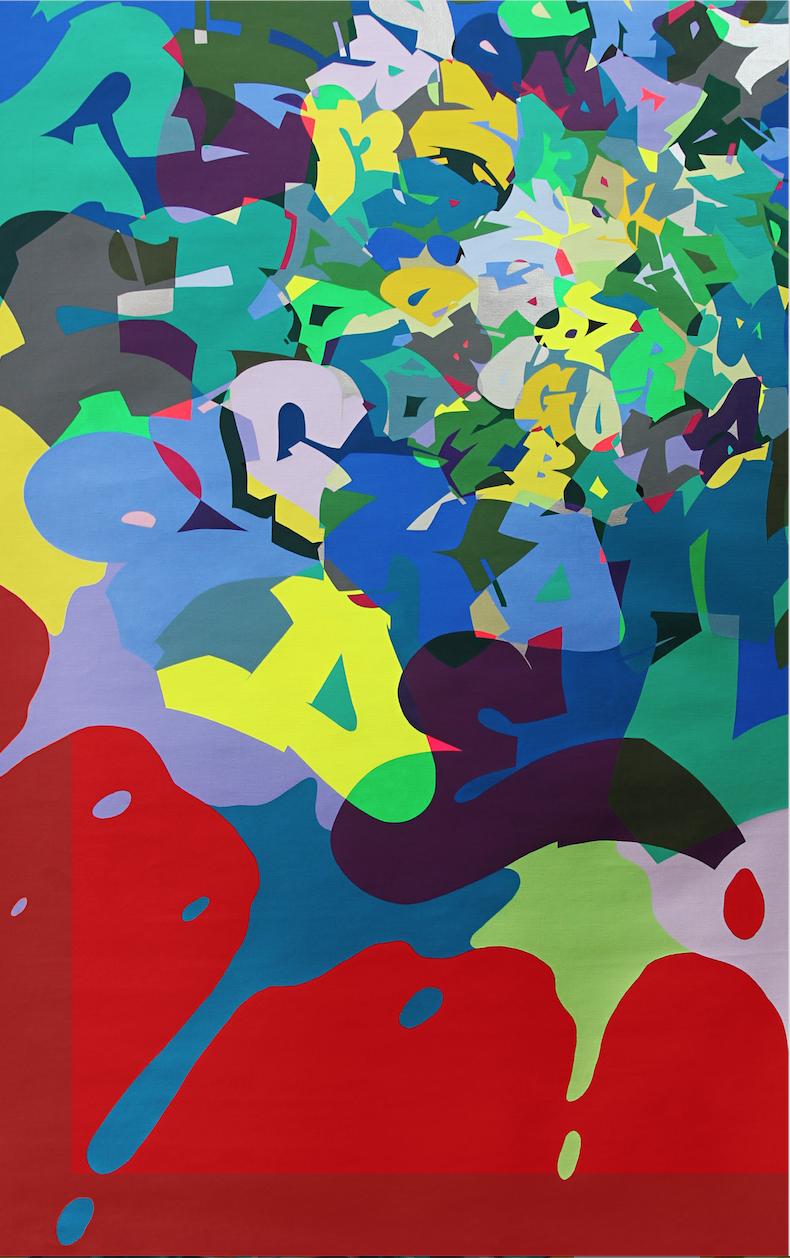 Artist: Kongo, France    Title: Ici Medium: mixed media on canvas   Dimension: 162 x 97 cm Year: 2016