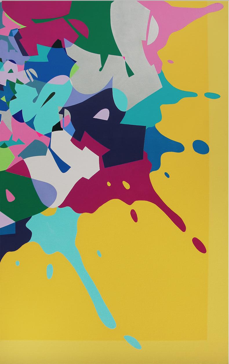 Artist: Kongo, France    Title: La Bas Medium: mixed media on canvas   Dimension: 162 x 97 cm Year: 2016