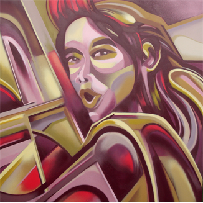 Artist: Tutugraf, Indonesia    Title: Guilty Pleasure_Blow Job Medium: mixed media on canvas   Dimension: 130 x 130 cm Year: 2016