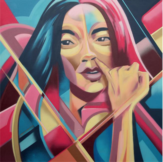 Artist: Tutugraf, Indonesia    Title: Guilty Pleasure_Fingering Medium: mixed media on canvas   Dimension: 130 x 130 cm Year: 2016