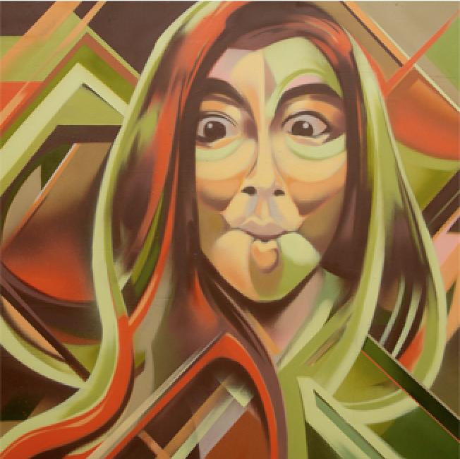 Artist: Tutugraf, Indonesia    Title: Guilty Pleasure_Sucking Medium: mixed media on canvas   Dimension: 130 x 130 cm Year: 2016