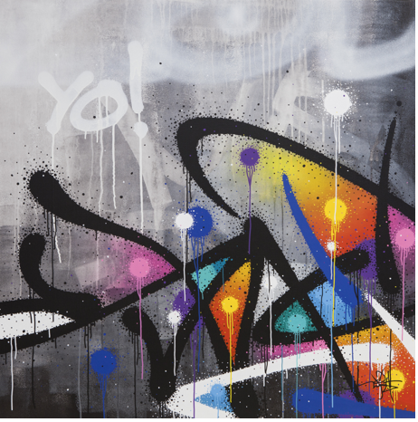 Artist: Mist, France    Title: Sketchy Malus Medium: mixed media on canvas   Dimension: 100 x 100 cm Year: 2016