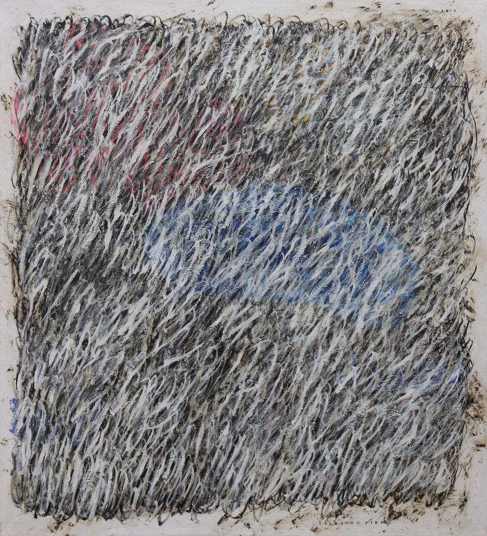 Iabadiou Piko, b.1984 (INDONESIA)  Title: Di Ujung Waktu Yang Bersembunyi, Di Ujung Lurus Yang Berkabut, Di Anatara Ilalang Kering Yang Menusuk Jiwa Biru  Medium: Acrylic, Bitumen on Canvas  Dimension: 160 x 145 cm  Year: 2017