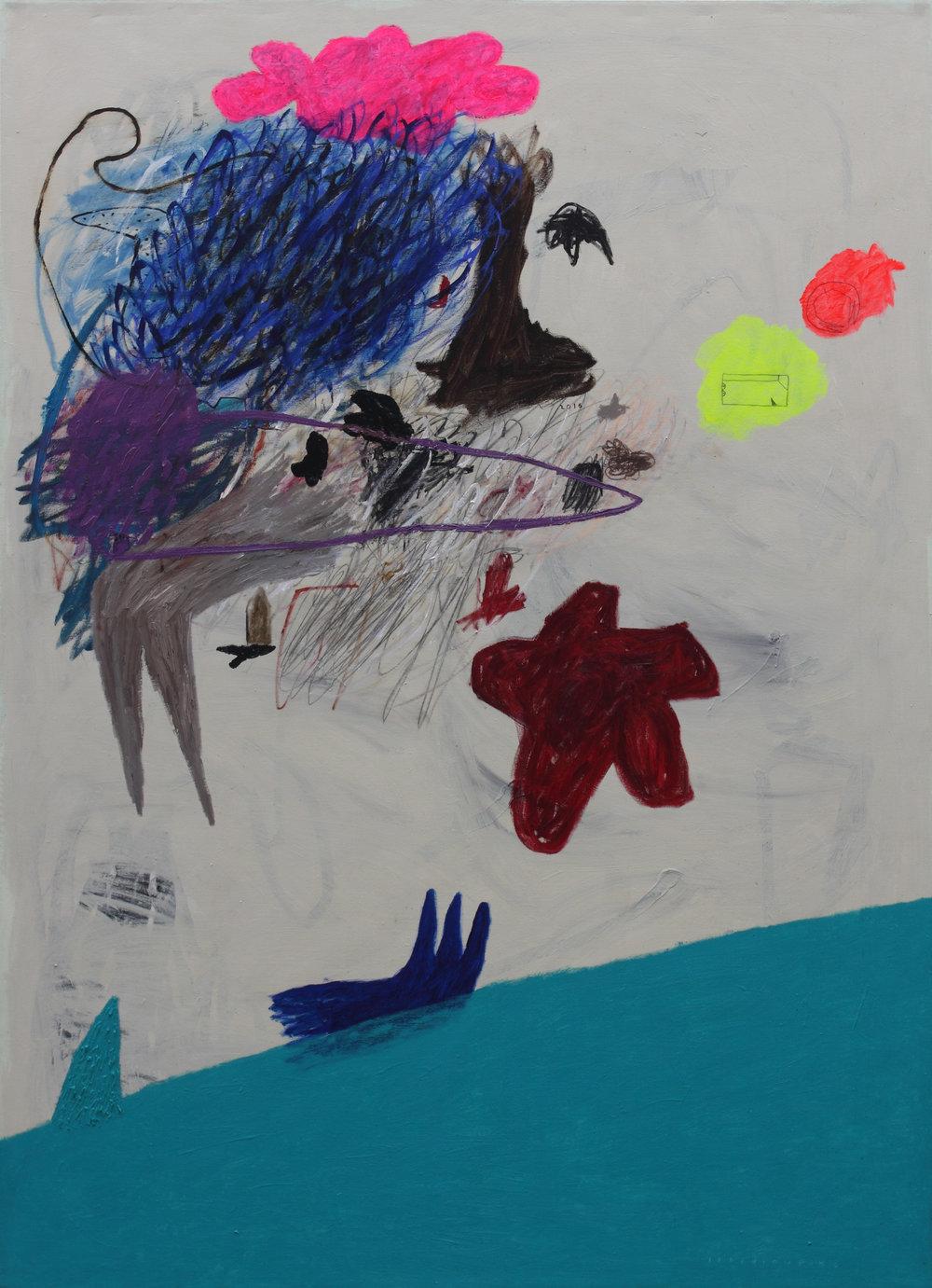 Iabadiou Piko, b.1984 (INDONESIA)  Title: Menumpuk Di Atas Hamparan, Mencoret Berisik Di Bawah Pink, Di Kejauhan Tampak Pemandangan Di Atas Laut, Sepotong Jiwa Biru Perlahan Tenggelam  Medium: Acrylic, Bitumen, Oil, Pastel, Charcoal Pencil on Canvas  Dimension: 200 x 145 cm  Year: 2017