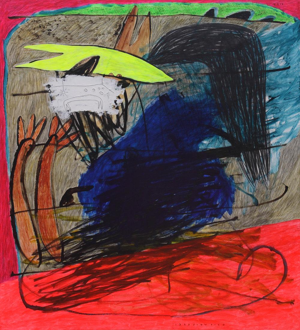 Iabadiou Piko, b.1984 (INDONESIA)  Title: Menembak Biru Yang Perlahan Menghitam, Membakar Pesona Angin Yang Diam Pada Sekujur Jiwa Yang Kembali Memutih  Medium: Acrylic, Bitumen, Charcoal Pencil on Canvas  Dimension: 160 x 145 cm  Year: 2017