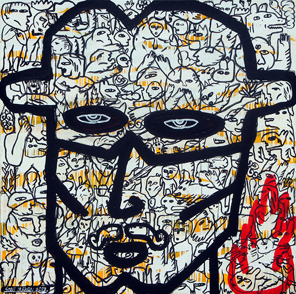 Artist: Soni Irawan, Indonesia    Title: Man On Fire #2 Medium: acrylic and oil bar on canvas   Dimension: 120 cm x 120 cm Year: 2017