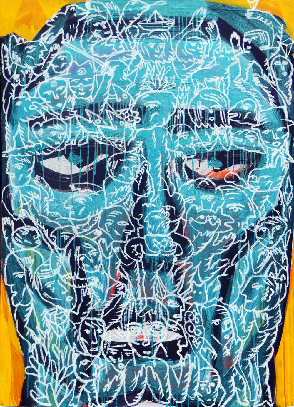 Artist: Soni Irawan, Indonesia  Title: The Survivor Medium: acrylic, solid marker on canvas Dimension: 125 cm x 90 cm  Year: 2017