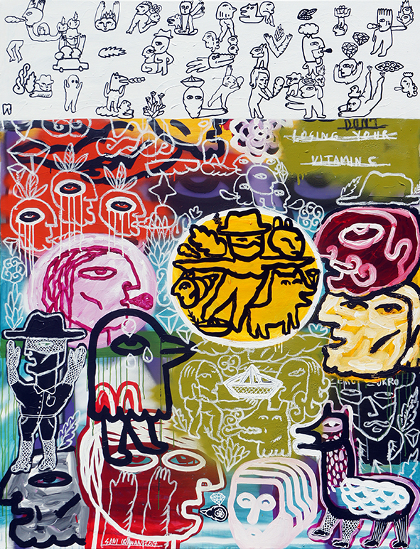 Artist: Soni Irawan, Indonesia    Title: Happy Noise Day Medium: acrylic, oil bar, correction pen, spray paint on canvas   Dimension: 170 cm x 130 cm (one of triptych series) Year: 2017