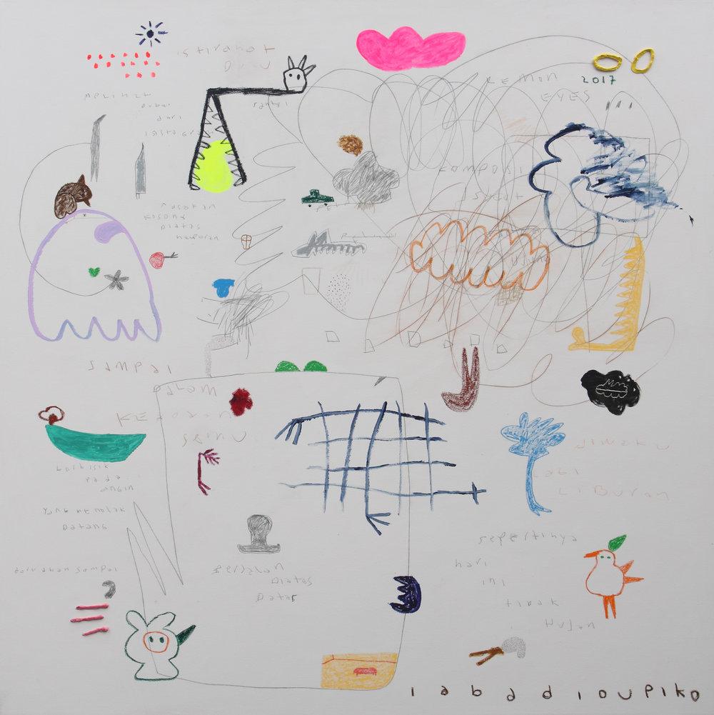 Artist: Iabadiou Piko, (INDONESIA)  Title: Komposisi di Atas Halaman Putih  Medium: acrylic, color pencil, pencil, oil, oil bar, relief paint, marker, archival ink on linen blend Dimension: 200 cm x 200 cm Year: 2017