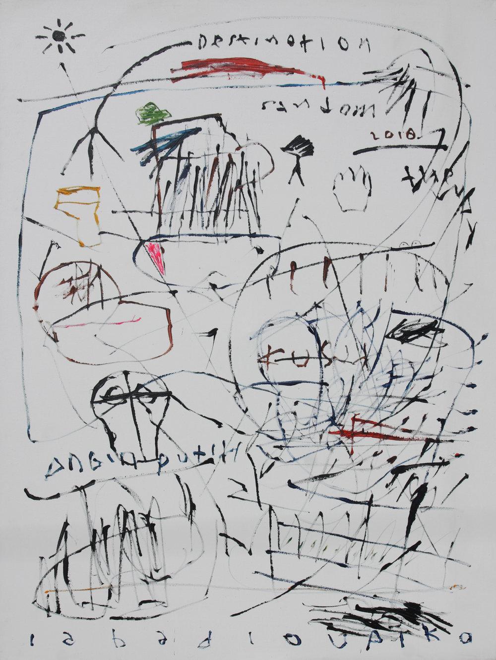 Artist: Iabadiou Piko, (INDONESIA)  Title: Random Destination Medium: acrylic on linen blend Dimension: 200 cm x 150 cm Year: 2018