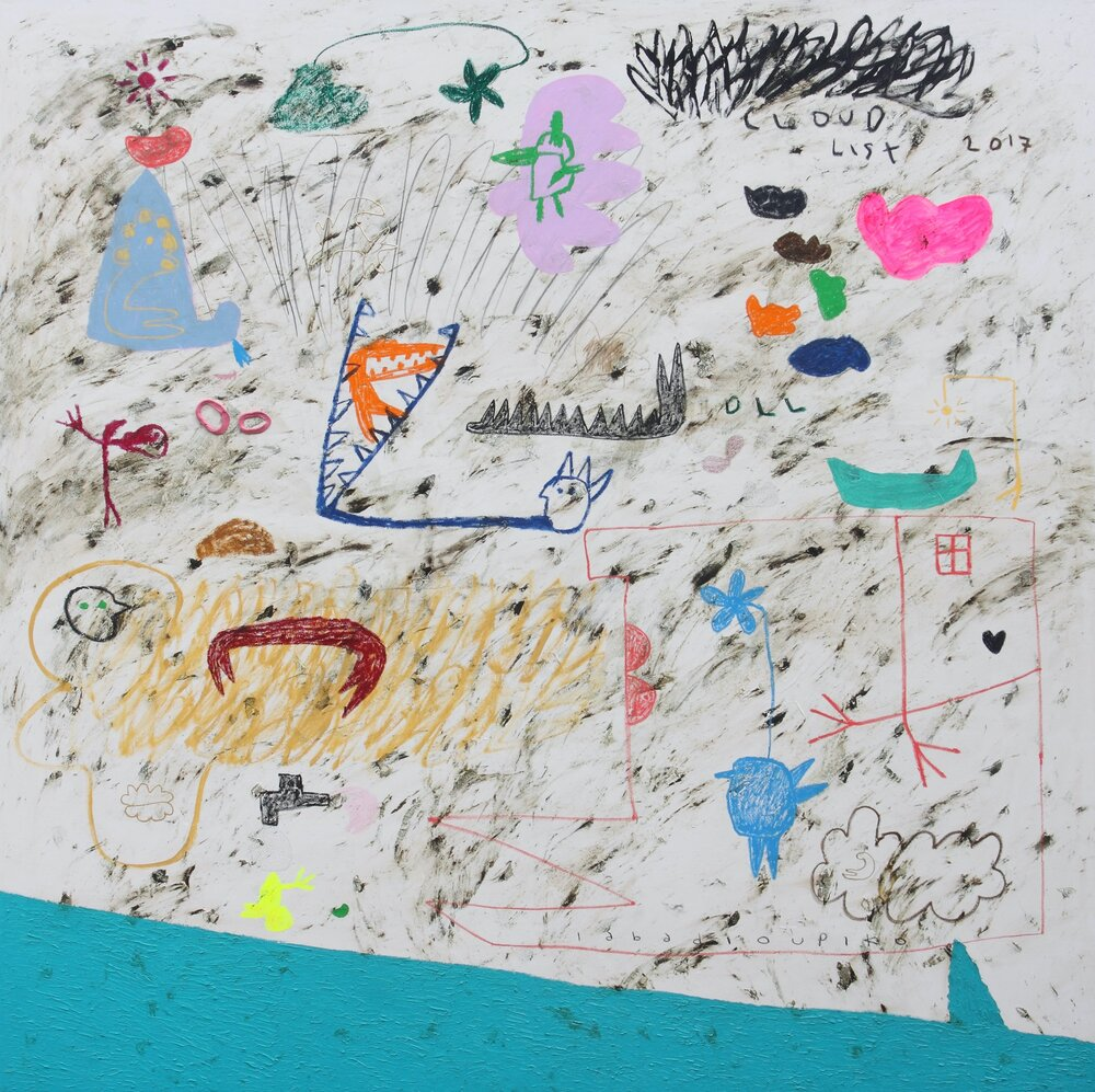 Artist: Iabadiou Piko, (INDONESIA)  Title: Melepas Komposisi Biru Medium: acrylic, bitumen, color pencil, pencil, oil, oil bar, relief paint, marker, archival ink on linen blend Dimension: 200 cm x 200 cm Year: 2017