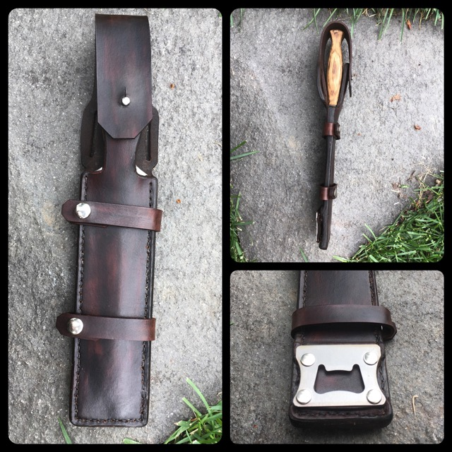 Leather sheaths are custom made for each bush knife.