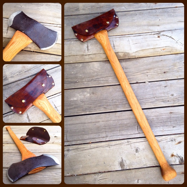 Unnamed double-bit, completely re-shaped edges, handmade hickory handle, leather mask.