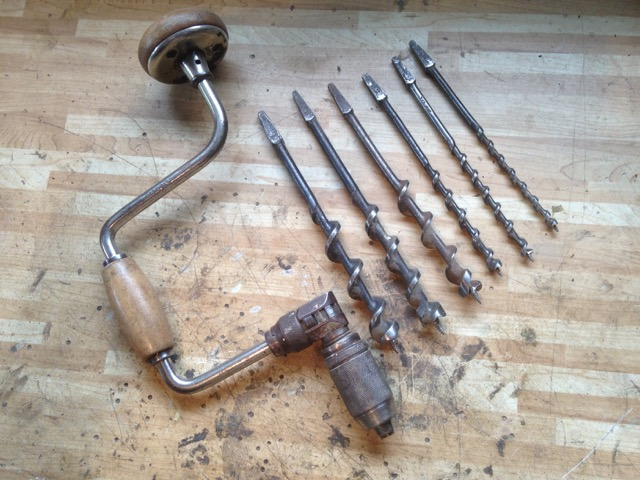 Canadian made ratcheting brace with wooden handles, and an assortment of auger bits. - $110 +shipping