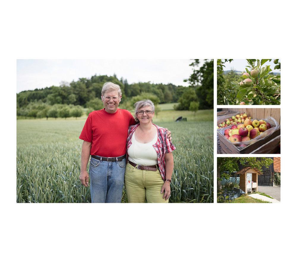 Landwerker & Gaumenfreunde  wo die Schlosshalde einkauft  Portraits von Produzenten für das  Gasthaus Schlosshalde     Ruedi & Heidi Peter, Unterohringen
