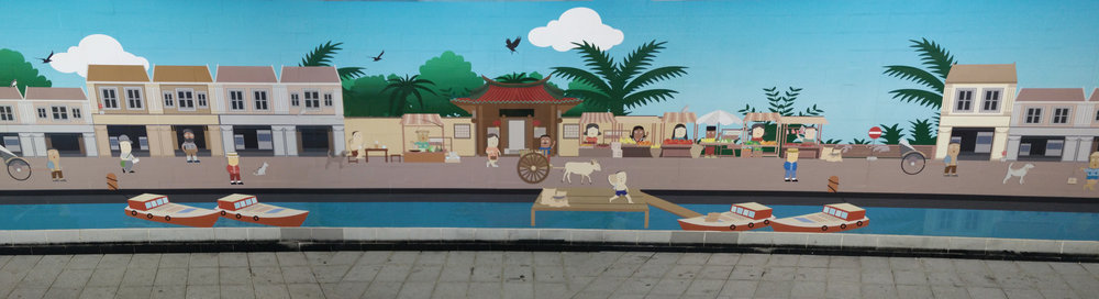 These underpass murals were designed by Raffles Design Institute. 'Back to the Past' depicts the trade and transportation activities that took place along the Singapore River