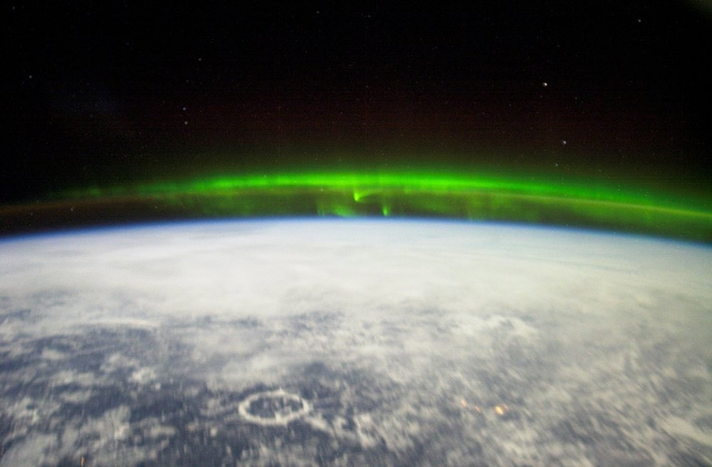 Photo of Aurora Borealis as seen from space, by NASA