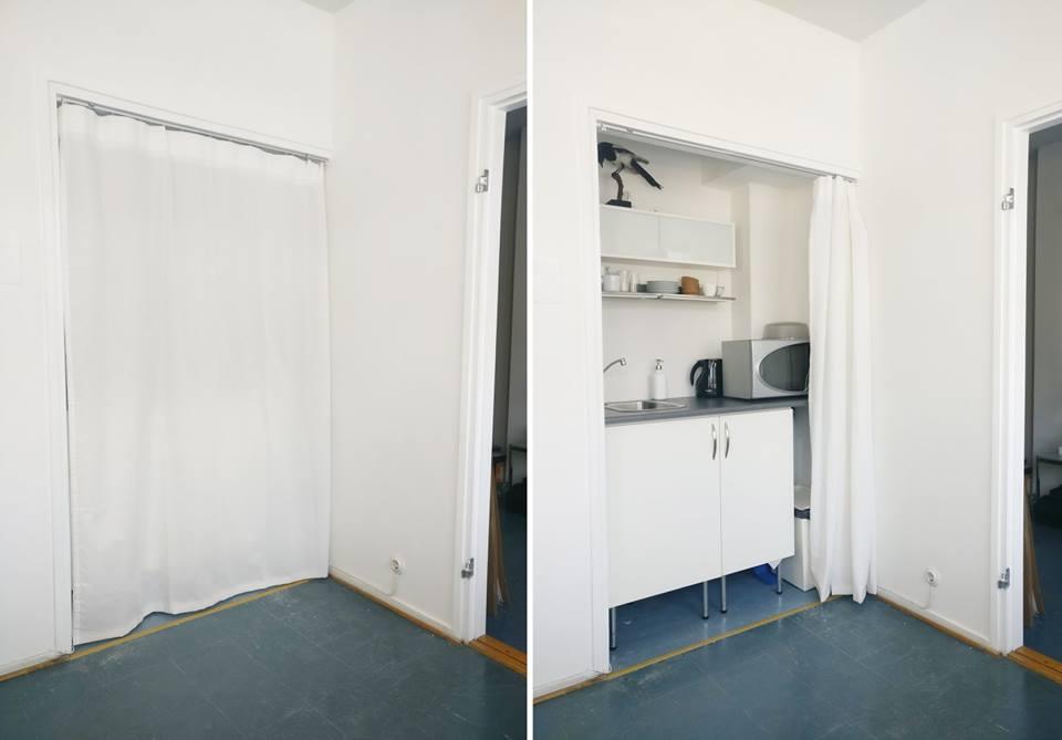 Verholla suljettavassa keittopisteessä mikro, vesipiste ja teenkeitin. Myös jääkaappi löytyy.