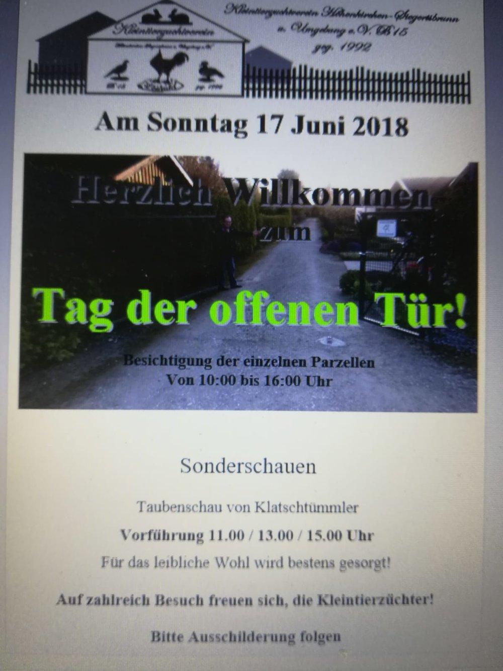 - in der Zuchtanlage vom KTZV Höhenkirchen-Siegertsbrunnam 17. Juni 2018mehr unter www.ktzv-hoehenkirchen-siegertsbrunn.de