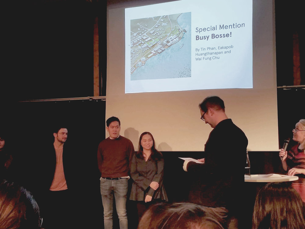 Awarded with a Special Mention at the Europan 14 Prize Ceremony - 30.11.2017/01.12.2017 - Arkitektenes Hus, Oslo - Tin & co's entry, Busy Bosse!, was awarded with a Special Mention, and were invited to the ceremony. Tin & Phoebe also presented to all the other international winning entries, the jury and government officials. The third member, Guide was not present for the award ceremony & dinner, food was eaten on his behalf. The jurors statement was;