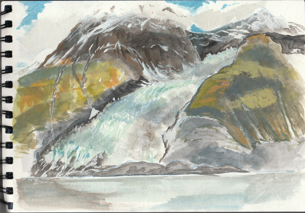 My first painting in the field, sitting on a house-sized boulder at the foot of Coxe glacier and looking across the fjord to Cascade glacier. An incredible landscape doesn't seem like it would be too great a detriment to painting. But for me, someone who makes his living dealing in details, trying not to show everything was so   difficult!  The landscape was so enormous that I would sit down and start painting and, before long, would realize that my subject simply wasn't going to fit in my little spiral bound sketchbook. In this image I was trying to capture the shadows of the clouds drifting across the mountainside. Of note:  Barry glacier, which, 10 years ago, would have run into this scene from the right and covered the little island at the foot of Cascade,  has receded almost a kilometer in that time.Climate change is a very real thing and very noticeable in Alaska.